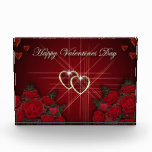 Happy Valentine's Day Gold Hearts Acrylic Award