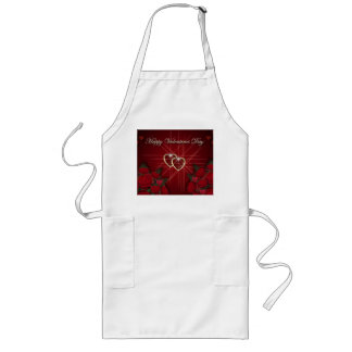 Happy Valentine's Day Gold Hearts Long Apron