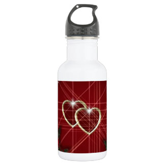 Happy Valentines Day Gold Hearts Water Bottle