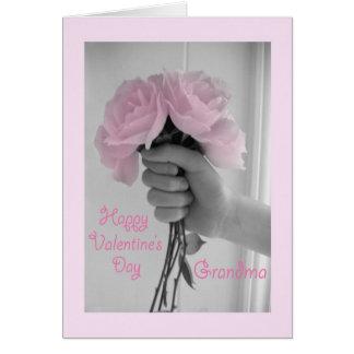 Happy Valentine's Day Grandma Pink Roses Greeting Card