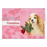 Happy Valentine's Day Grandma With Dog And Rose Card