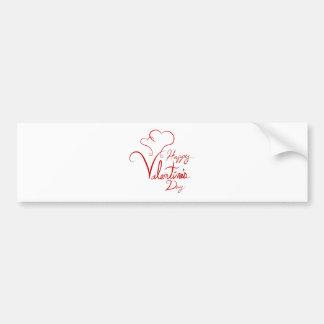 Happy Valentines Day Handwriting Spiral Heart Car Bumper Sticker