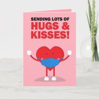 Happy Valentine's Day Happy Heart in Face Mask Holiday Card