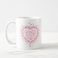 Happy Valentine's Day Heart Coffee Mug (White)