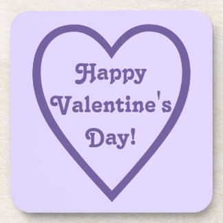 Happy Valentine's Day Heart Outline Coaster