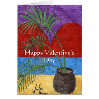 Happy Valentine's Day Heart Palm Tree Card