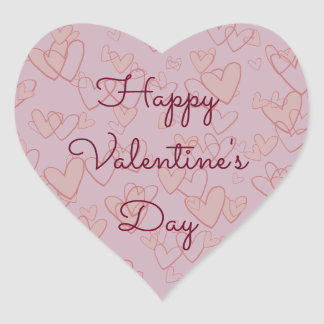 Happy Valentine's Day Heart Sticker, Glossy Heart Sticker