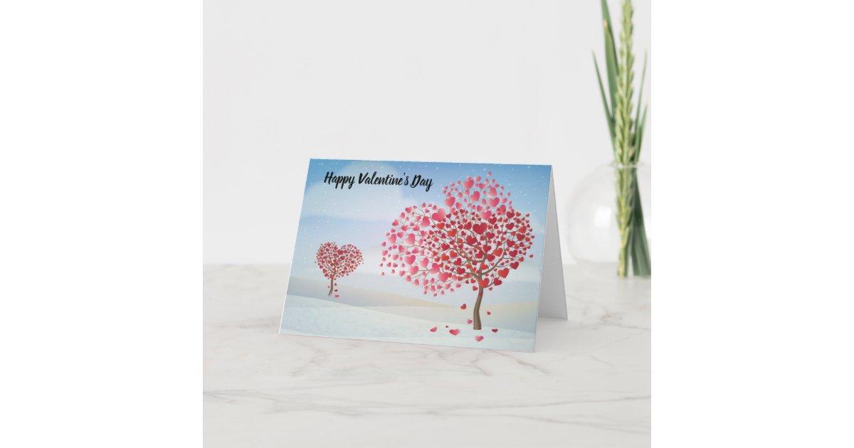 Happy Valentine S Day Heart Tree Holiday Card Zazzle Com