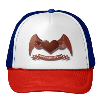 Happy Valentines Day Heart with Wings Trucker Hat