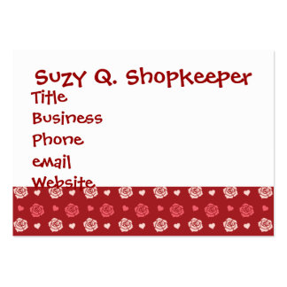 Happy Valentine's Day Hearts and Flowers Red Pink Business Card Templates