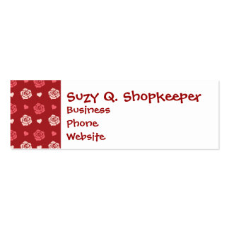 Happy Valentine's Day Hearts and Flowers Red Pink Business Cards