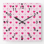 Happy Valentine's Day Hearts Pattern Pink Red Square Wall Clock