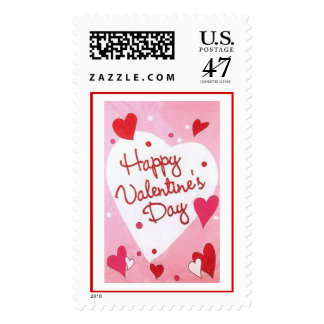"""Happy Valentines Day"" Hearts Postage"
