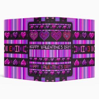 Happy Valentines Day Hearts & Stripes Binder