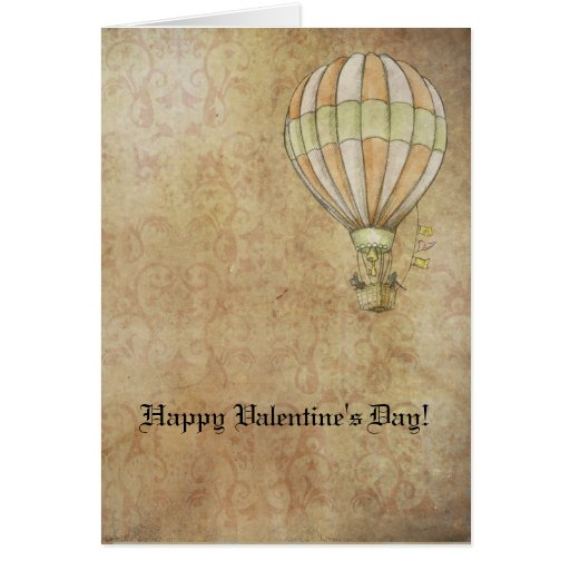 Happy Valentine's Day Hot Air Balloon Steampunk Card