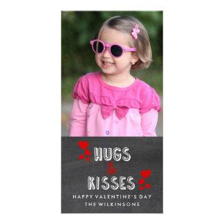 Happy Valentine's Day Hugs Kisses Chalkboard Photo Card