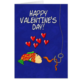 Happy Valentine's Day Humor Fish and Bait Greeting Card
