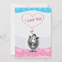 Happy Valentine's Day! I Love  You! Cute Sheep Holiday Card