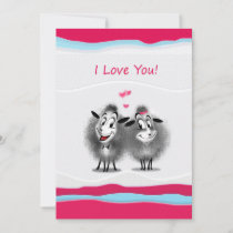 Happy Valentine's Day! I Love  You! Cute Sheeps Holiday Card