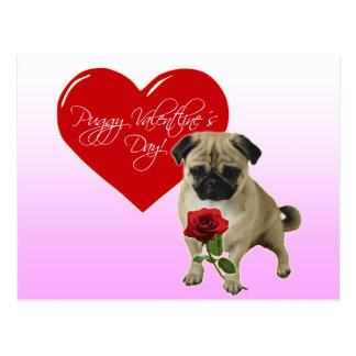 Happy Valentine's Day - I love you - Pug Postcard