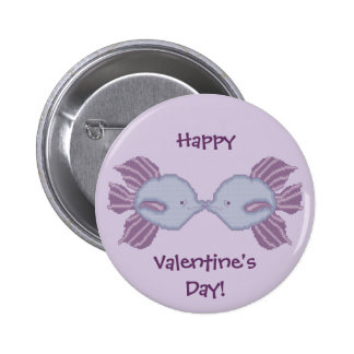 Happy Valentine's Day! Kissing Fish Button