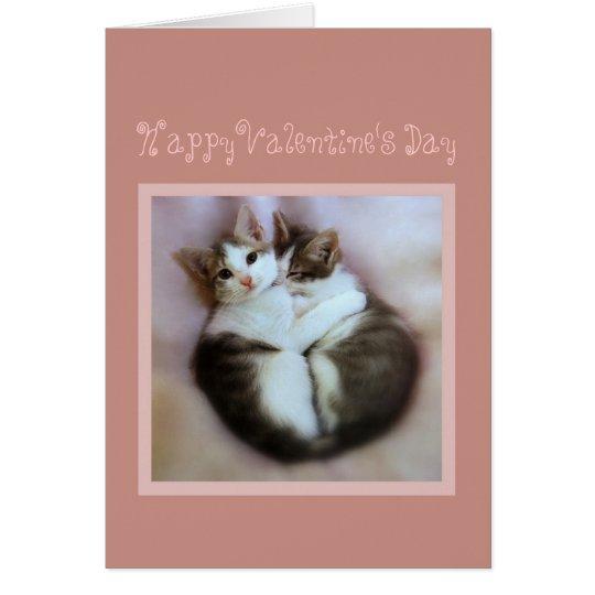 Happy Valentine's Day Kittens in Love Card