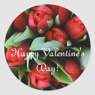 Happy Valentine's Day Large Stickers Red Tulips