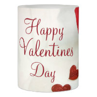 Happy Valentines Day LED Candle/Red Rose and Heart Flameless Candle