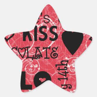 happy valentines day love kiss marry design star sticker