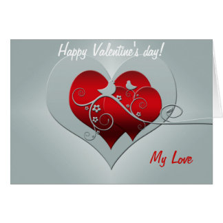 Happy Valentines Day Lovebirds With Red Heart Card