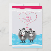 Happy Valentine's Day Lovely Cute Sheeps Greeting Holiday Card