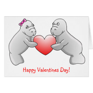 Happy Valentines Day - Manatee love card at Zazzle