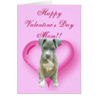 Happy Valentineu0026#39;s Day Mom Pitbull Puppy Card