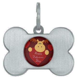 Happy Valentine's Day Moose Pet Name Tag