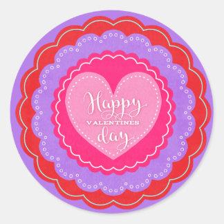 Happy Valentine's Day Old Fashioned Valentine Classic Round Sticker