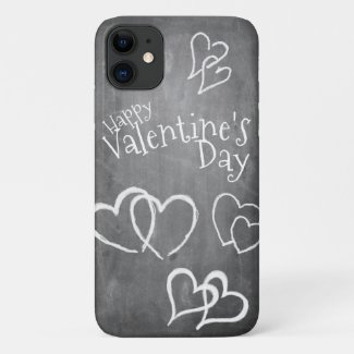 Happy Valentine's day on a chalk board iPhone 11 Case