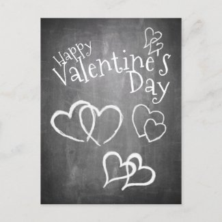 Happy Valentine's day on a chalk board Holiday Postcard