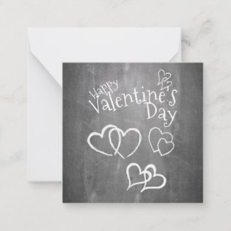 Happy Valentine's day on a chalk board Note Card