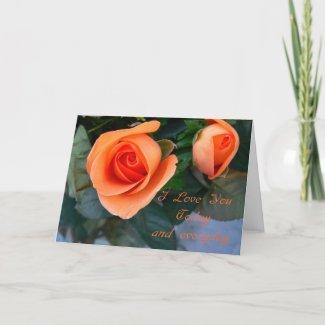 Happy Valentine's Day-Orange roses I love you ... card