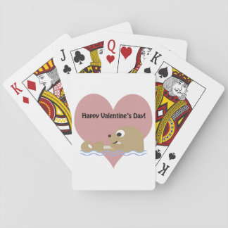 Happy Valentines Day Otter Playing Cards