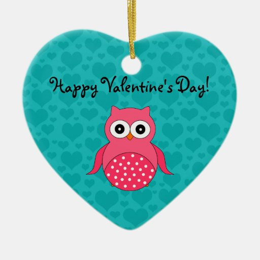 Happy valentine's Day owl Double-Sided Heart Ceramic Christmas Ornament