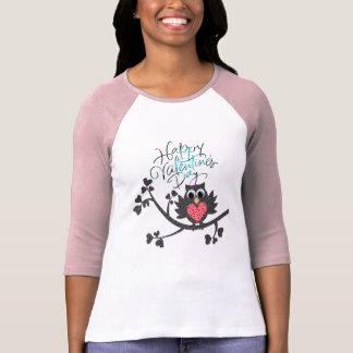 happy valentine's day owl heart love tshirt design