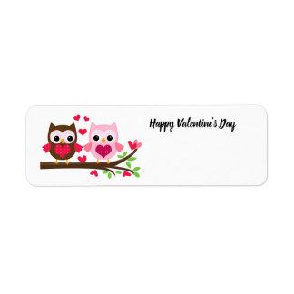 Happy Valentine's Day Owls Label