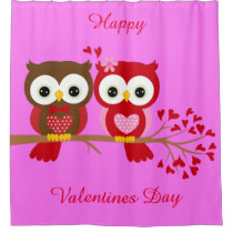Happy Valentines Day Owls Shower Curtain