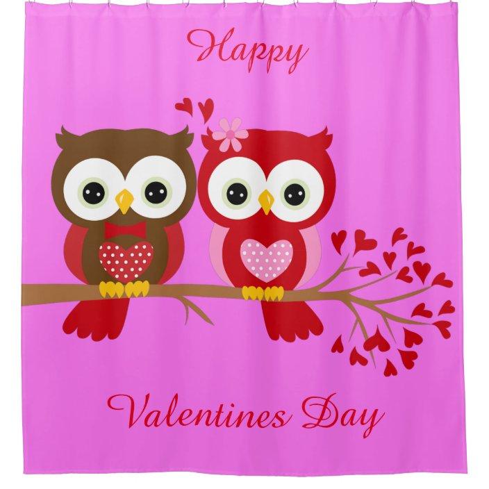 Happy Valentines Day Owls Shower Curtain Zazzle Com