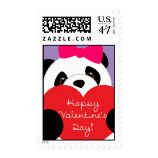 Happy Valentine's Day Panda Girl Postage Stamps