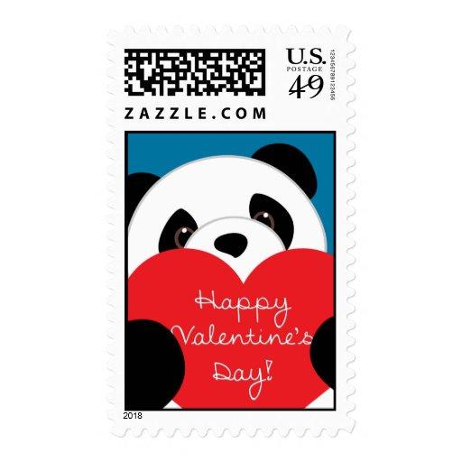 Happy Valentine's Day Panda Postage Stamp