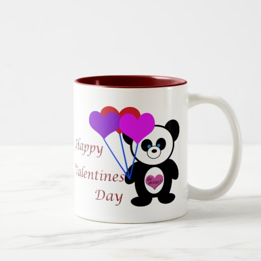 Happy Valentines Day Panda Two-Tone Coffee Mug