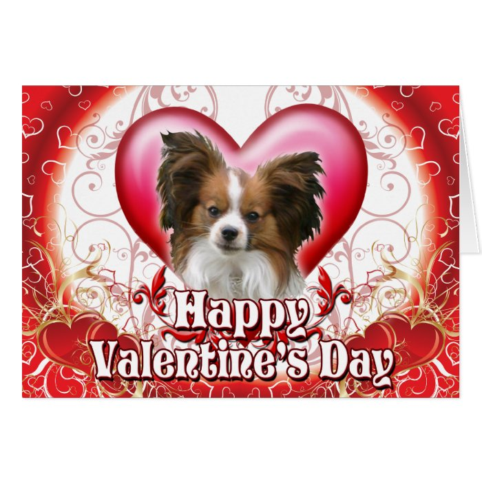 Happy Valentines Day Papillon Card