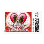 Happy Valentines Day Papillon Postage Stamps